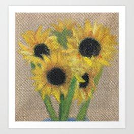 Sunflowers on Burlap Art Print