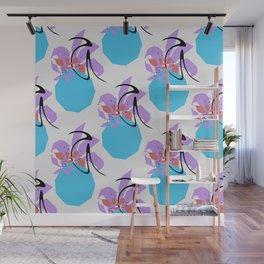 Plants In A Vase Blue Purple Orange Minimalist Wall Mural
