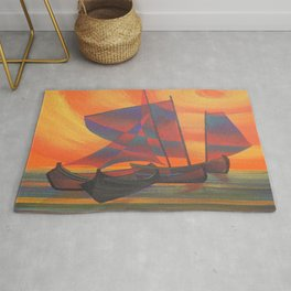 Red Sails in the Sunset Cubist Junk Abstract Rug