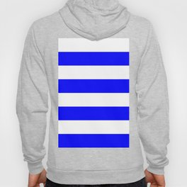 Wide Horizontal Stripes - White and Blue Hoody