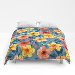 Colorful Watercolor Hibiscus on Grey Blue Comforters