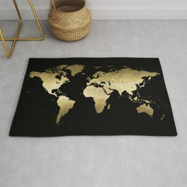 gold foil world map on black background Rug