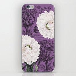 White Peony Purple Collage iPhone Skin