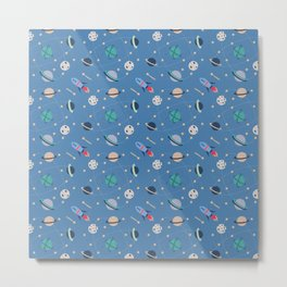 planets on a trajectory, space rocket pattern Metal Print