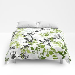 Branches and Leaves in Cobalt Grey and Green Comforters
