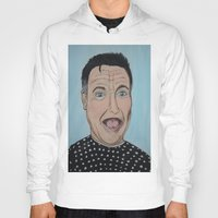 robin williams Hoodies featuring Robin Williams Portrait by Tania Allman Art