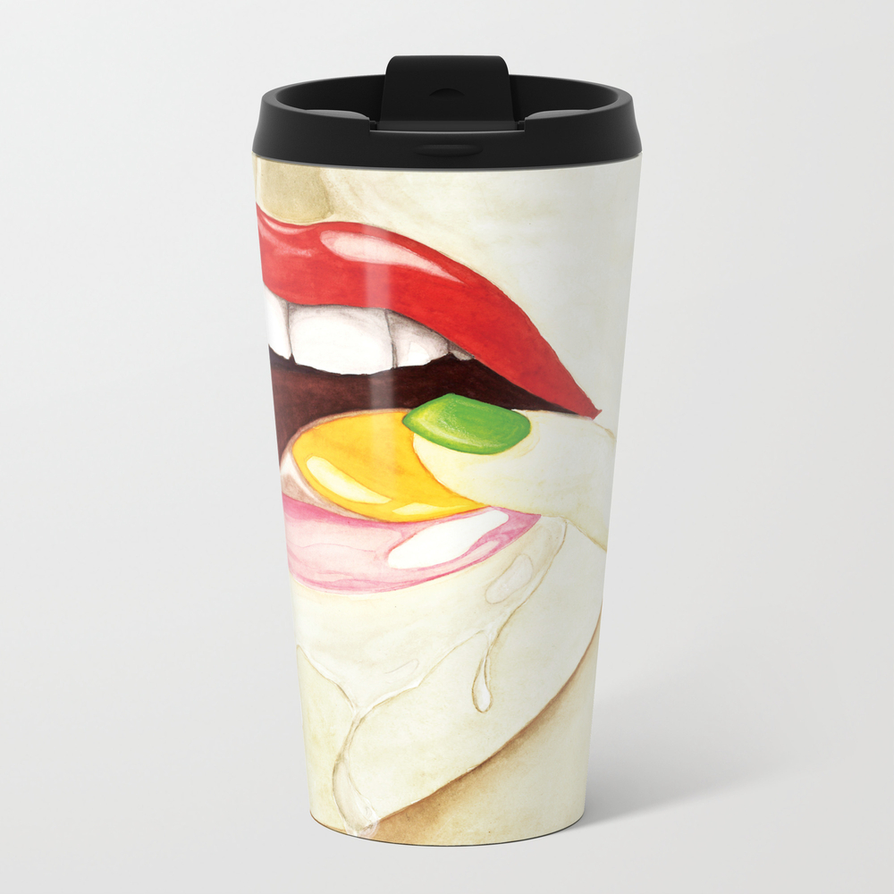 Egg Red Lip Metal Travel Mug by Crisgaor MTM8836680