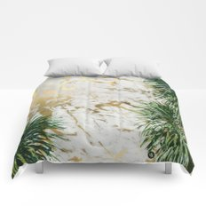 gold marble texture with palm trees Comforters