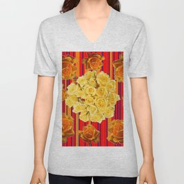 DECORATIVE YELLOW ROSES RED STRIPE PATTERN COLLAGE Unisex V-Neck