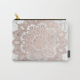 Boho Mandala - Rosegold on Marble Carry-All Pouch