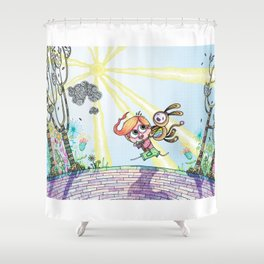 Laughing Along the Path - One Boy and a Toy Shower Curtain
