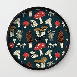 Mushroom Medley in Dark Teal Wall Clock
