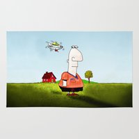 ufo Area & Throw Rugs featuring Little UFO by Peter Gross