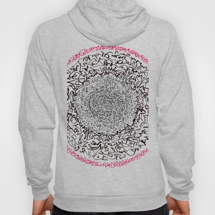 A Pink Result of the Dance, asemic calligraphy for home decoration Hoody