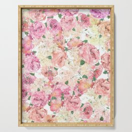 Flowers, Floral Explosion, Floral Pattern, Pink Flowers Serving Tray