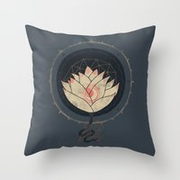 lotus Throw Pillows featuring Lotus by Hector Mansilla