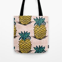 pinapple Tote Bags featuring Large pina palatern by JennieAblanedo