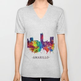 Amarillo Texas Skyline Unisex V-Neck
