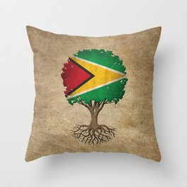 Vintage Tree of Life with Flag of Guyana Throw Pillow