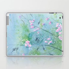Floating Cherry Blossom - Art Watercolor Painting print by Suisai Genki Laptop & iPad Skin