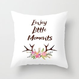 Deer Antlers with flowers , quotes , inspirational quote Throw Pillow