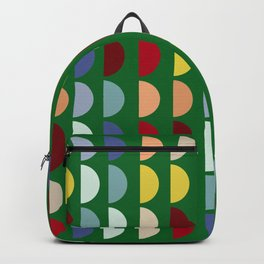 Forest Green Semi Circles Pattern Moss  Backpack