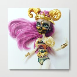 Golden Skull Custom Doll Metal Print
