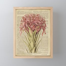 Book Art Page Pink Flower Framed Mini Art Print