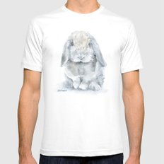 Mini Lop Gray Rabbit Watercolor Painting White Mens Fitted Tee MEDIUM