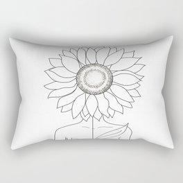 Minimalistic Line Art of Woman with Sunflower Rectangular Pillow