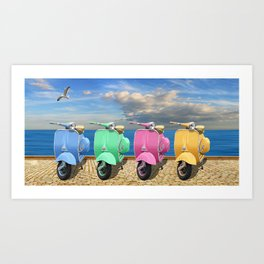 Scooter in bright colors Art Print