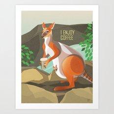 Wallaby Enjoys Coffee Art Print