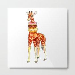 Giraffe in donuts Metal Print