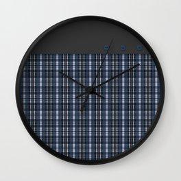 Blue grey plaid pattern Wall Clock