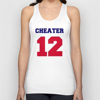 patriots Tank Tops featuring Tom Brady Cheater  by All Surfaces Design