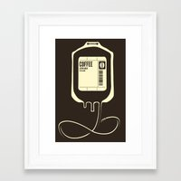 coffee Framed Art Prints featuring Coffee Transfusion by Tobe Fonseca