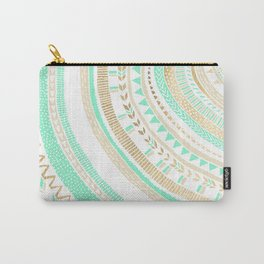 Mint + Gold Tribal Carry-All Pouch