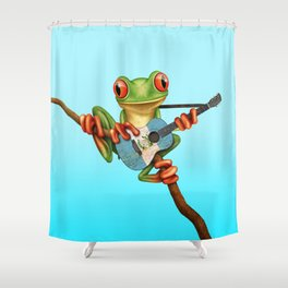 Tree Frog Playing Acoustic Guitar with Flag of Guatemala Shower Curtain
