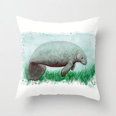 The Manatee ~ Watercolor Painting by Amber Marine Throw Pillow