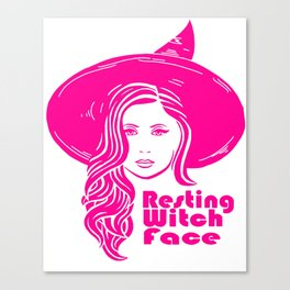 Resting Witch Face, Pink Canvas Print