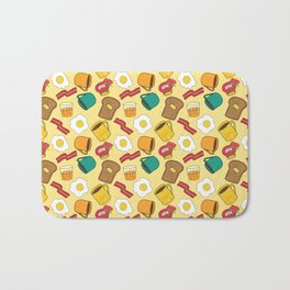 Doodle breakfast: toasts, jam, juice, coffee, bacon, eggs on a yellow background Bath Mat