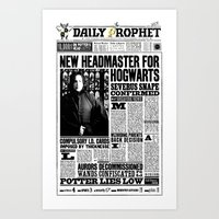 "snape Art Prints featuring Daily Prophet ""NEW Head Master, Severus Snape"" by Win Graphics"