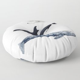 Orca, humpback and grey whales Floor Pillow