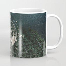 Mountains Compass Milky Way Woods Gold Coffee Mug