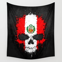 Flag of Peru on a Chaotic Splatter Skull Wall Tapestry