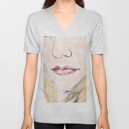 Watercolour Female Close Up Unisex V-Neck
