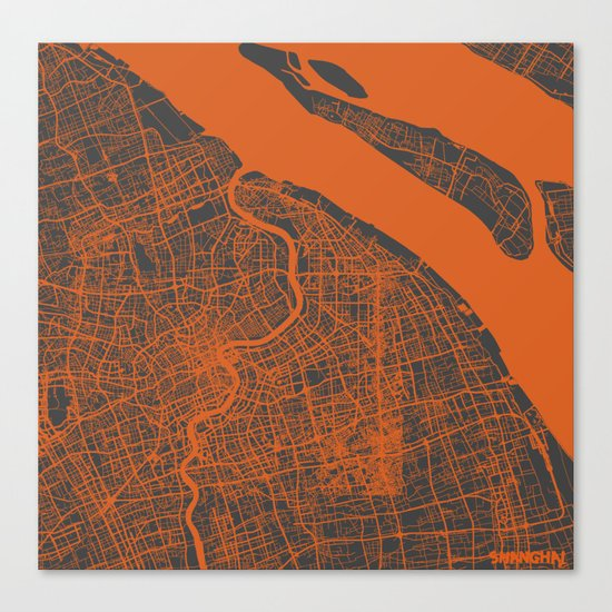 Shanghai Map #2 Canvas Print