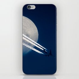 vapour trail over moon iPhone Skin