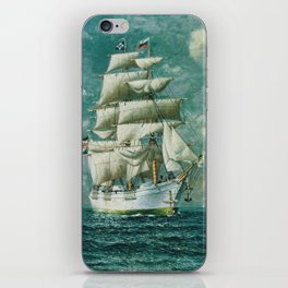 Vintage Large White Sailboat Painting (1895) iPhone Skin