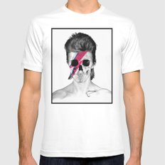 Skull Bowie White Mens Fitted Tee MEDIUM